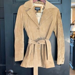Beautiful suede leather tan coat jacket m